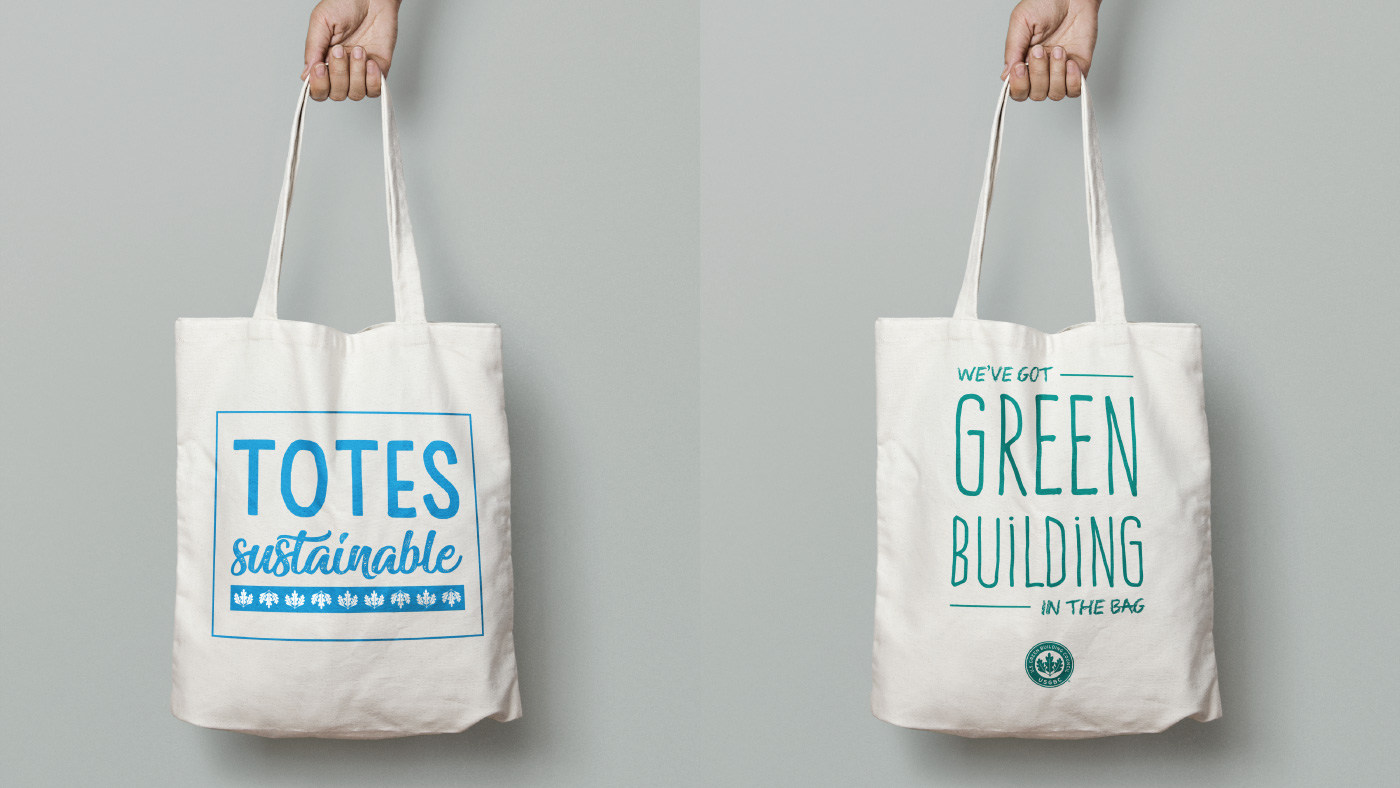 Branded tote bags for the USGBC holiday party