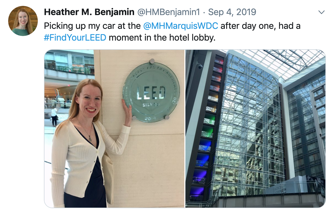 LEED plaque at the Marriott Marquis in Washington, DC