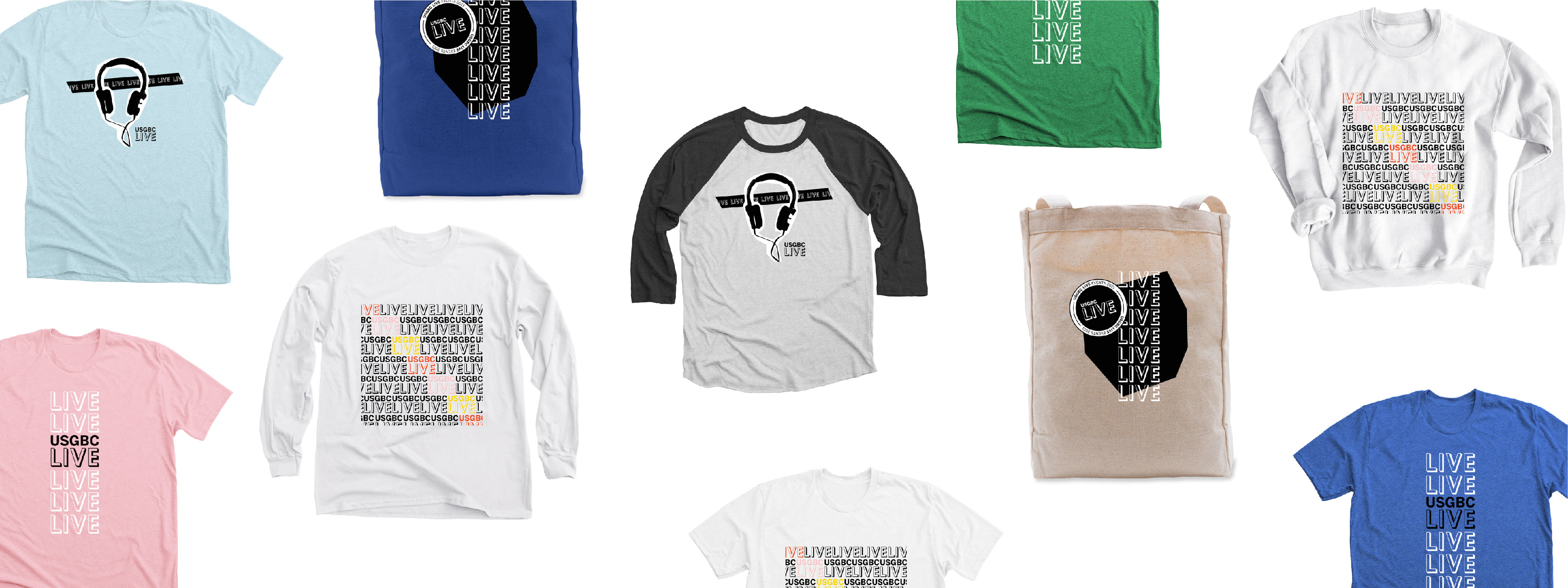 A collage of t-shirts with USGBC Live branding